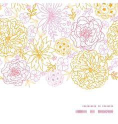 Flowers outlined horizontal frame seamless vector - by Oksancia on VectorStock®