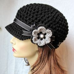Crochet Newsboy, Hat, Black, Ribbon, Flower, Gray, Pearl Button, Gifts for Her, Birthday Gifts JE148NFRALL6