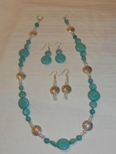 Handmade Turquoise Beaded Necklace & Earring by RLKuniqueboutique, $30.00