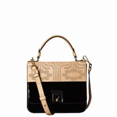 180041596561 Orla Kiely Punched Climbing Daisy Leather Ivy Bag Black   Fawn for sale  online at The