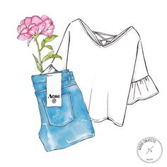 Good objects - Back to basics: white + denim + flowers #goodobjects #watercolor #illustration