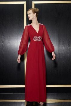 A-line V-neck Long Sleeves Beaded Shoulder Waist V-Back Chiffon Evening Dress-soe0078, $194.95