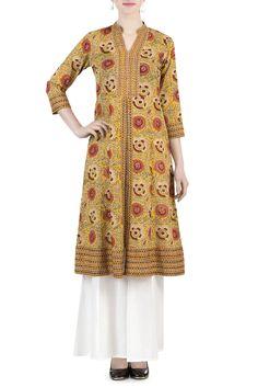 Golden Orange Mughal Print Kurta #blockprint #kurta #handembroidery