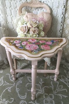 A personal favorite from my Etsy shop https://www.etsy.com/listing/468093999/shabby-demilune-table-hand-painted-pink