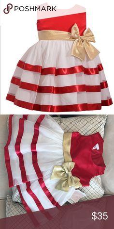 Bonnie Jean Sleeveless A-Line Dress - Baby Girls Beautiful sleeveless A- line dress with red and white stripes, gold waist line with a bow. Size 18M Brand New. Bonnie Baby Dresses Asymmetrical