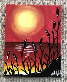 8x10 Canvas Beach Sunset Painting