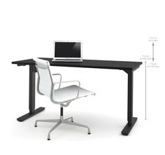 """60"""" Sit-Stand Electric Height Adjustable Office Desk in Black (28"""" - 45"""" H)"""