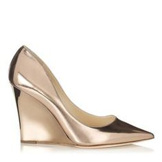 Jimmy Choo Trey mirror leather pointy toe wedge.
