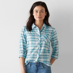 Women's SONOMA Goods for Life™ Plaid Tie-Front Shirt, Size: Small, Med Blue