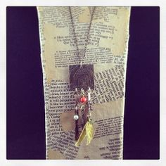 Dave's hammered brass elements, beads, sari silk, square pendant made w #sizzix #decoetch die.