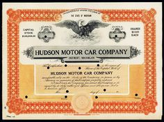 8: Hudson Motor Car Company IPO Stock Certificate Detroit, Michigan, 19xx (March 1909 written on bottom left corner), Odd Shares, Specimen, Dark orange on light orange underprint, Spread winged eagle vignette. POC's, VF-XF condition. The Hudson Motor Car Company, incorporated in February 1909, was named for JL Hudson, founder. This certificate was printed in March 1909 (Dated on lower left corner) and very possibly could be the first and earliest Hudson stock certificate available.