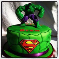 Incredible Hulk and Super Hero Birthday Cake