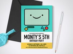 Adventure Time Beemo Printable Party Invite  by MontyandMeShop