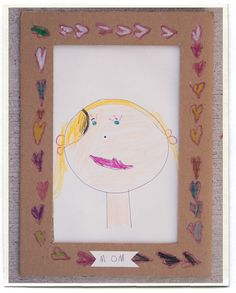 I was thinking it would be fun to have the kiddos do a portrait of their Mom for Mother's day, but felt it needed something...a decorated cardboard frame, is an excellent idea!