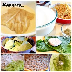 Kadamb - the most popular southwest coastal delicacy in India. Kadamb (in Konkani) is a mixture of mogge (field marrow), rice and fresh coconut; steamed in aromatic haldi paan (turmeric leaves). The steam cooked Kadamb is simple and easy to cook. When steaming, the sweetest fragrance and the divine aroma released by the turmeric leaves fills the kitchen and makes you hungry. I truly die for this dish on any hot or cold or rainy day. Just yummy and delicious!!! Cook Off, Turmeric, Food To Make, Coastal, Fragrance, Coconut, Leaves, India, Cold