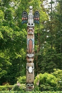 Totem Pole - Butchart Gardens thinking of Aunt Sandi Stock Photo - Totem Pole - Butchart Gardens, Victoria, Vancouver Island - BC, Canada Victoria Vancouver Island, Buchart Gardens, Native American Tribes, Native Americans, Banner Printing, Sacred Art, Photo Postcards, Land Art, Image Photography