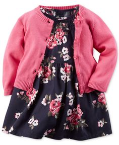 Carter's Baby Girls' Floral-Print Dress & Cardigan Set