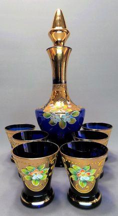 Conjunto de Decanter e Copos em Vidro de Murano, Itália, Com Desenhos Florais Pintados à Mão. 1930's
