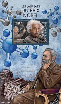 Central African Republic post stamp CA 15308 b	Nobel Prize winners (Albert Einstein (1879–1955), Nobel prize in Physics)