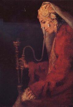A Kashmiri Nautch Girl with a Hookah, Mortimer Menpes