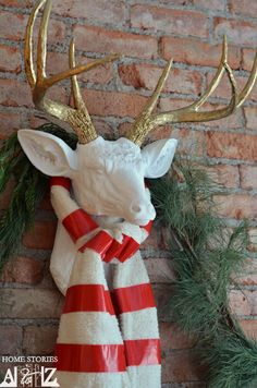 Seriously - I never thought of getting a dear head from a taxidermist! I need to get one of these. DIY Faux deer head