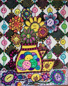 Hippie Art Poster Original Buttons and Flowers by DawnCollinsArt, $30.00