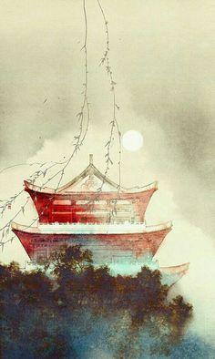 Art by Ibuki Satsuki Chinese Wallpaper, Chinese Artwork, Japanese Artwork, Asian Landscape, Landscape Art, Landscape Wallpaper, Fantasy Kunst, Fantasy Art, Fantasy Books