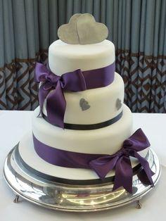 purple and silver wedding cake