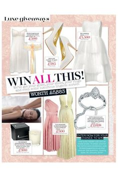 Win fabulous items including Bridal lingerie and honeymoon bikini, Silk wedding dress, Satin and mother-of-pearl heels, and aromatherapy massage. Honeymoon Bikini, Bridal Lingerie, Aromatherapy, Massage, Pearl, Satin, Silk, Wedding Dresses, Heels