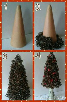 Pine cone tree. 1: cover a foam cone with brown paper. 2: using a hot glue gun stick on the pine cones. Larger at the bottom getting smaller as you reach the top. 3: to cover up any gaps I added red berries. 4: display however you want.