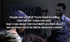 Lee definitely doesn't deserve it and i don't think letting Clem do it is harsh. In THAT kind of world she obviously can't be a child and she will have to do that kind of stuff for sure. In this world you are not dealing with walkers only. It is actually more about humans and how much you can do for them. So she needed to do it and i think this was Lees final lesson for her.