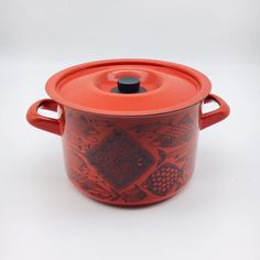 Rare vintage Finel arabia enamel pot by Kaj Franck, made in Finland,