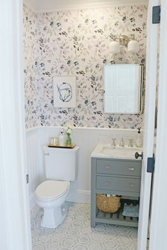 I am so excited to reveal our Powder Bathroom Makeover! The before and after transformation is amazing! We used Thassos mosaic Marble tile, Caitlin Wilson Design Wallpaper, Wayfair bathroom vanity, Pottery Barn bathroom fixtures. The Powder bathroom make Bad Inspiration, Bathroom Inspiration, Bathroom Ideas, Bathroom Renovations, Small Bathroom Makeovers, Bathroom Quotes, Funny Bathroom, Bathroom Showers, Bathroom Layout