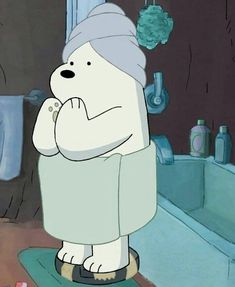 Cartoon Network Inspired We Bare Bears Polar Bear Ice Character Metal Enamel Stud Earrings with Gift Box