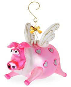 Betsey Johnson Ceramic Flying Pig Ornament #Macy's $25