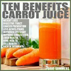 Ten benefits of Carrot juice