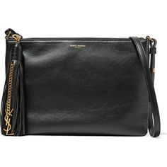 Saint Laurent Monogramme Teen tasseled leather shoulder bag ($860) ❤ liked on Polyvore featuring bags, handbags, shoulder bags, black, leather handbags, leather tassel handbags, yves saint laurent handbags, yves saint laurent purses and cell phone purse