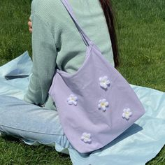 Flower wild shoulder canvas bag college student bag · FE CLOTHING · Online Store Powered by Storenvy Sacs Tote Bags, Diy Tote Bag, Cute Tote Bags, Canvas Tote Bags, Canvas Backpack, Aesthetic Bags, Sacs Design, Accesorios Casual, Mode Outfits