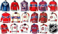 Montreal Canadiens jerseys through the years. Hockey Girls, Hockey Mom, Ice Hockey, Hockey Stuff, Montreal Canadiens, Pittsburgh Penguins Hockey, Red Wings Hockey, New York Islanders, Nhl Jerseys