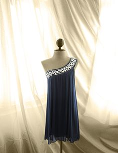 Great Gatsby Elven Midnight Navy Blue Grecian by RiverOfRomansk, $89.85