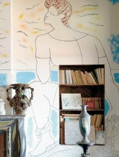 Detail of Jean Cocteau mural at La Villa Santo-Saspir | Cocteau liked to say that he learned from Matisse that once you paint one wall, the other three look bare.