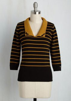 I Think I Cannes Sweater - Black, Stripes, Peter Pan Collar, Work, Darling, 3/4 Sleeve, Knit, Exceptional, Collared, Mid-length, Cotton, Yellow, Bows, Pinup, Scholastic/Collegiate, Fall, Winter