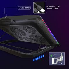 The Moojay laptop cooling pad has 6 adjustable height, You can adjust the angle that suits you best to reduce cervical spine fatigue and comes with a mobile phone stand. Laptop Cooler, Laptop Stand, Phone Stand, Large Fan, Small Fan, Laptop Cooling Pad, Bar Lighting, Suits, Suit