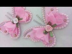 Tiara de pérolas c/ strass, flor boleada e cetim | Suh bessone - YouTube
