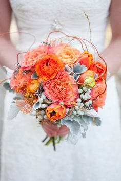 Orange Rustic wedding flower bouquet, bridal bouquet, wedding flowers, add pic source on comment and we will update it. www.myfloweraffair.com can create this beautiful wedding flower look.
