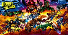 Heroes Return poster by Carlos Pacheco Featuring Fantastic Four, Wolverine and The X-Men, Daredevil, Cable, Spider-Man, Hulk, The Avengers, Thor, Iron Man, Captain America and Ka-Zar