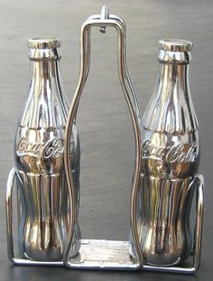 Coca Cola Chrome Salt & Pepper Shakers and Stand