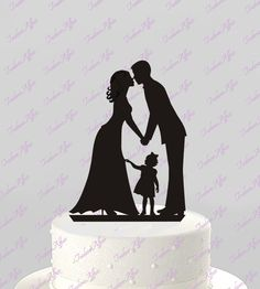 Wedding Cake Topper Silhouette Groom and Bride with little Girl, Kiss - Family Acrylic Cake Topper [CT60g]