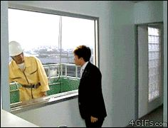Funny Japanese Window Cleaner Gif