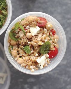 Farro, Chickpea, Feta, and Mint Salad. This pinner replaced the farro with quinoa. Either way, this is a summer salad DREAM!!!